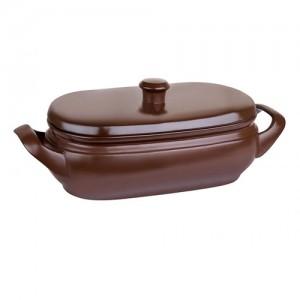 Assadeira de Cerâmica Alta c/ Tampa Terrine 4,5L Chocolate - Ceraflame