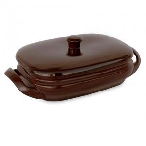 Assadeira de Cerâmica Grande c/ Tampa Terrine 4L Chocolate - Ceraflame
