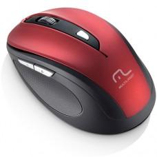 Mouse sem Fio 2.4 Ghz Comfort USB  6 Botões Vermelho - Multilaser