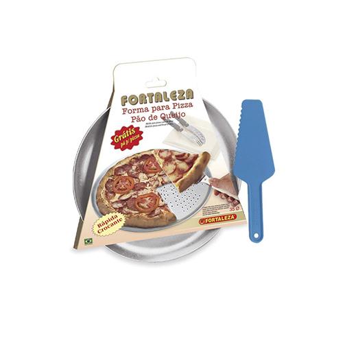 Forma Para Pizza Italiana Furada Aluminio + Espátula 35cm - Alumínio Fortaleza