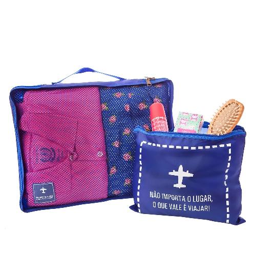 Travel Bag Organizador de Mala Azul GG + Saco c/ Ziper - Secalux