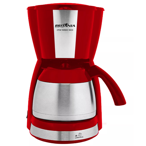 Cafeteira Elétrica Thermo c/ Jarra Inox Vermelha  1,2l - Britânia