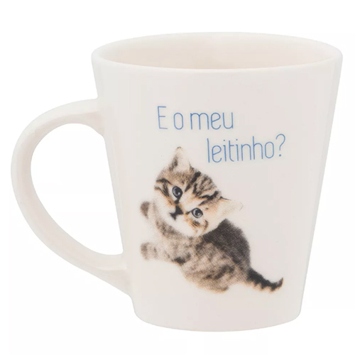 Caneca Drop de Porcelana Personalizada Biona Miau 250ml - Oxford