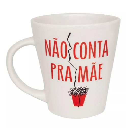 Caneca Drop de Porcelana Personalizada Biona Não Conta pra Mãe 250ml - Oxford