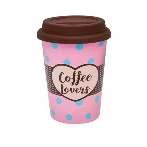 Copo Trip de Porcelana c/ Tampa Silicone Coffee Lovers 300ml - Oxford