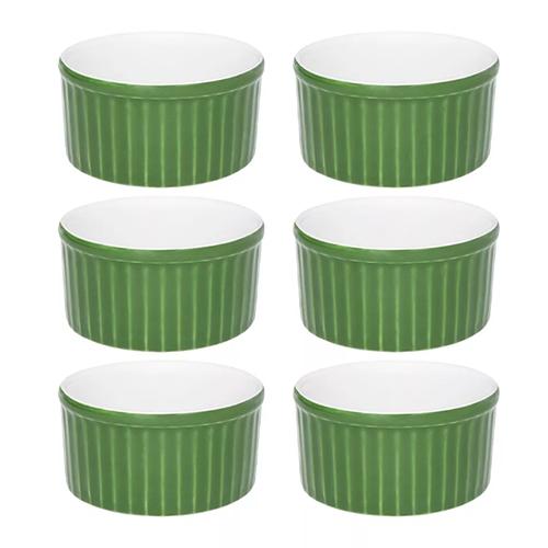 Conjunto de Tigelas Ramequins de Cerâmica Verde e Branca 180ml 6pçs - Oxford