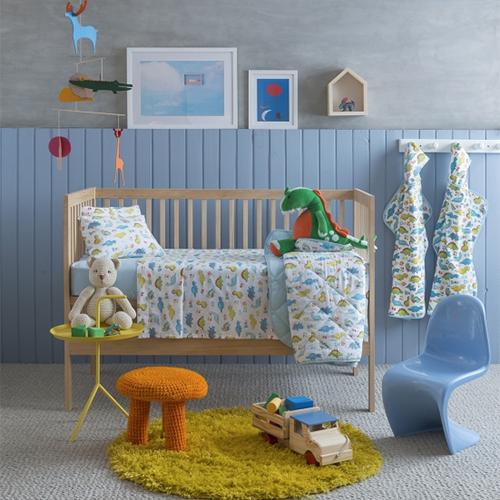 Jogo de Berço Baby Dino Azul 3pçs - Santista