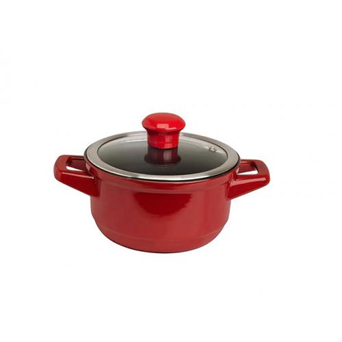 Caçarola de Cerâmica c/ Tampa de Vidro Duo 1,1L Vermelha/Pomodoro - Ceraflame