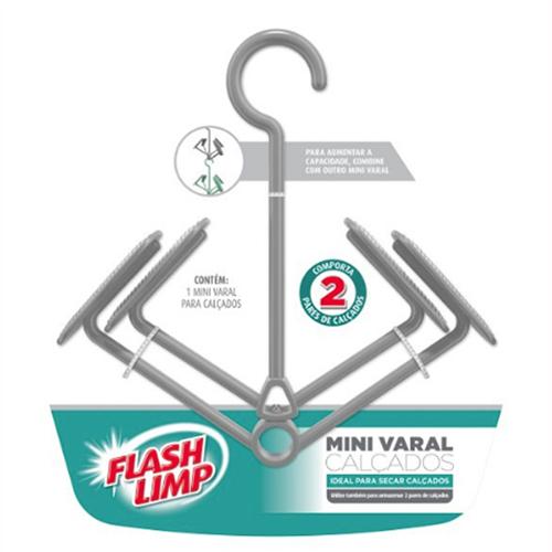 Mini Varal para Calçados 2 Pares Cinza - FlashLimp