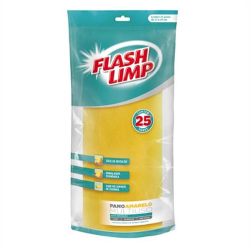 Rolo de Pano Multiuso Amarelo 25pçs - FlashLimp