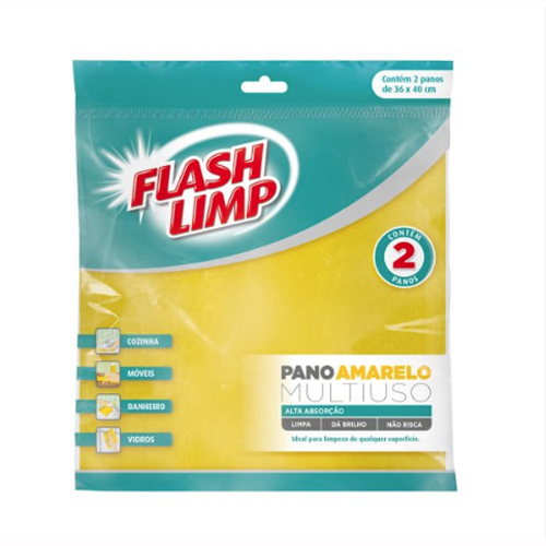 Pano Multiuso Amarelo 2pçs - FlashLimp