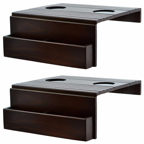 2 Bandejas Esteira de Madeira Para Braço de Sofá com Porta-Copo e Porta-Controle Remoto