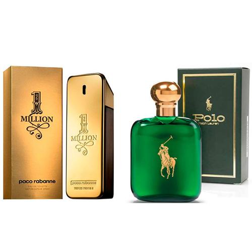 Perfume Masculino 1 Million EDT 50ml Paco Rabanne + Perfume Masculino Polo EDT 59ml Ralph Lauren