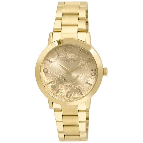 Relógio Feminino Analógico com Pulseira em Aço e Caixa em Metal Disco Boa Sorte Dourado - Condor