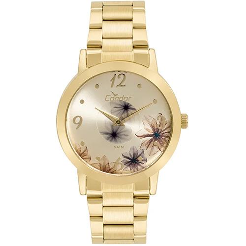 Relógio Feminino Analógico com Pulseira em Aço e Caixa em Metal Fashion Disco Floral Dourado - Condor