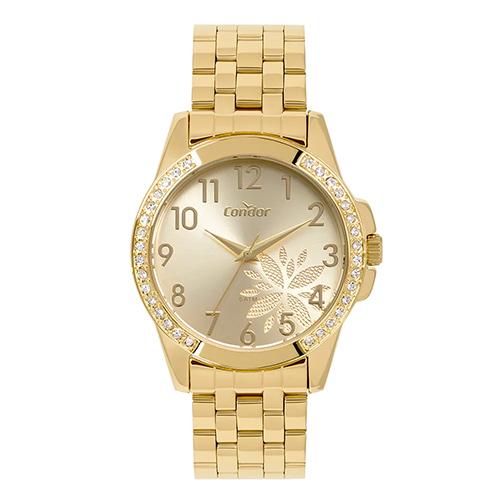 Relógio Feminino Analógico com Pulseira em Aço e Caixa em Metal Top Fashion Floral Dourado - Condor