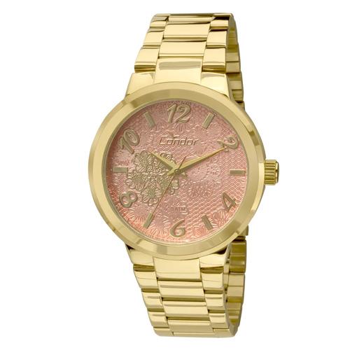 Relógio Feminino Analógico com Pulseira em Aço e Caixa em Metal Fashion Renda Dourado - Condor