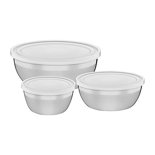 Conjunto de Potes em Aço Inox com Tampa Plástica Freezinox 3pçs - Tramontina