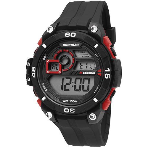 Relógio Masculino Digital com Pulseira e Caixa em Polímero Preto e Vermelho - Mormaii