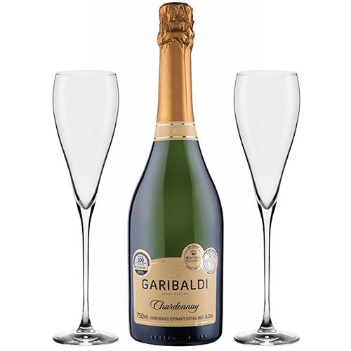 Espumante Garibaldi Chardonnay Brut 750ml + Conjunto de Taças de Cristal para Espumante Athenas Classic 280ml 2pçs Oxford