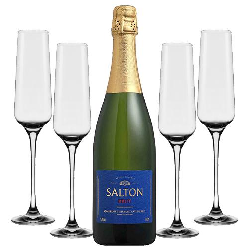 Espumante Salton Brut 750ml + Conjunto de Taças de Cristal para Espumante Flavour Classic 190ml 4pçs Oxford
