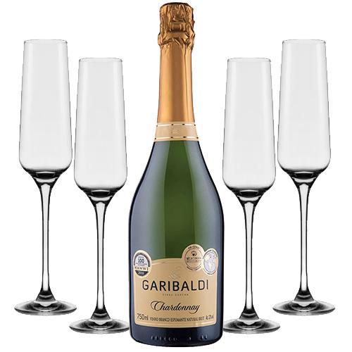 Espumante Garibaldi Chardonnay Brut 750ml + Conjunto de Taças de Cristal para Espumante Flavour Classic 190ml 4pçs Oxford