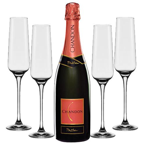 Espumante Chandon Passion 750ml + Conjunto de Taças de Cristal para Espumante Flavour Classic 190ml 4pçs Oxford