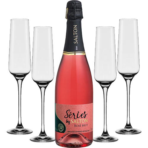 Espumante Salton Series Brut Rose 750ml + Conjunto de Taças de Cristal para Espumante Flavour Classic 190ml 4pçs Oxford