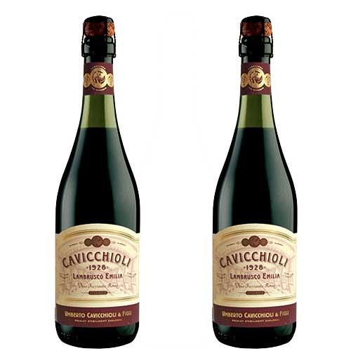 2 Vinhos Lambrusco Cavicchioli Dell Emilia Tinto Suave 750ml