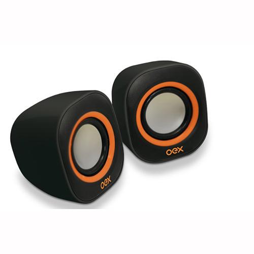 Caixa de Som Speaker Round Nommo Preta e Laranja - Oex
