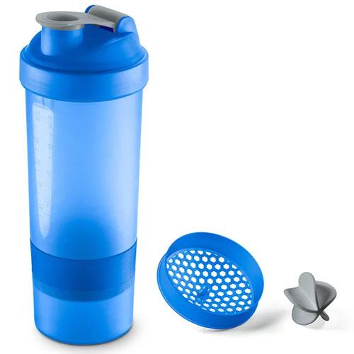 Shakeira Plástica com Compartimento Azul 800ml - Sanremo