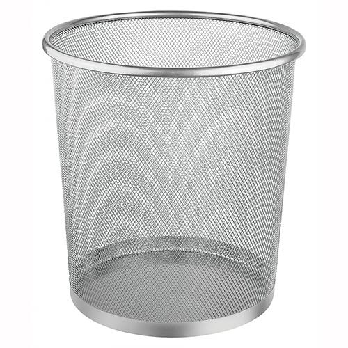 Lixeira Redonda de Metal 8,5L Prata - Ordene