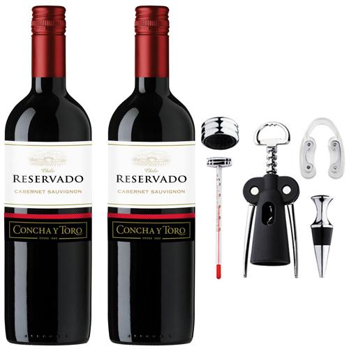 2 Vinhos Concha Y Toro Reservado Cabernet Sauvignon 750ml + Conjunto para Vinho Miss 5pçs Euro Home