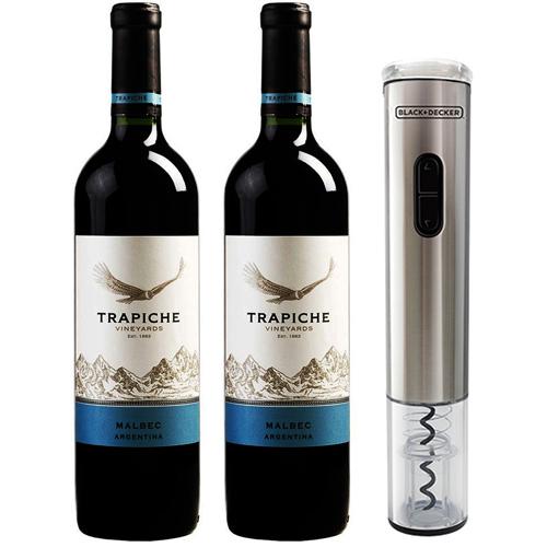 2 Vinhos Trapiche Malbec 750ml + Abridor de Vinho à Pilha BlackDecker