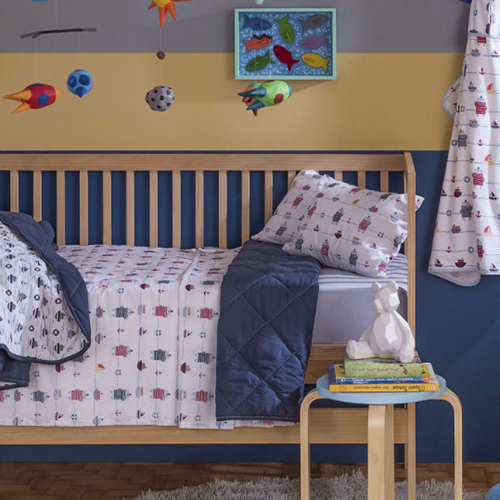 Jogo de Berço Antialérgico Baby Mariner Azul 3pçs - Santista