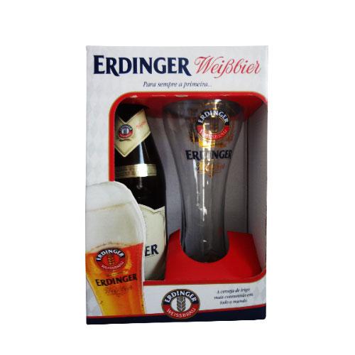 Kit Cerveja Erdinger Weissbier 500ml com Copo