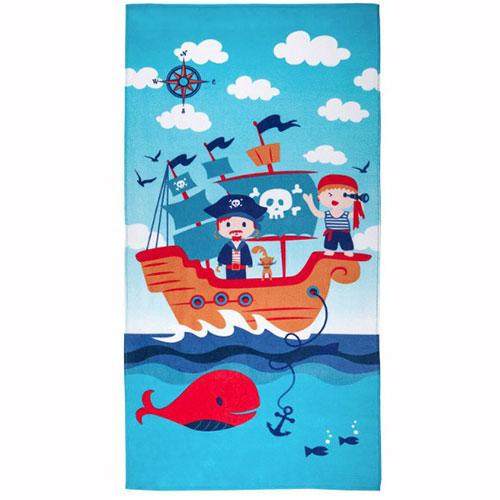 Toalha de Praia Infantil Aveludada 100% Algodão Pirata Azul - Santista