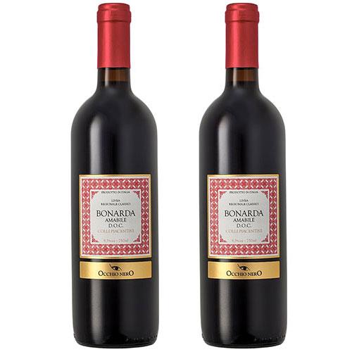 2 Vinhos Occhio Nero Linea Classici Amabile Bonarda D.O.C. 750ml