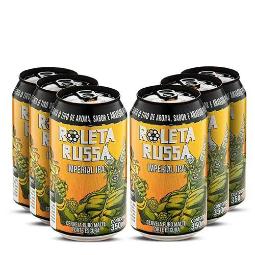 Pack 06 Cervejas Roleta Russa Imperial IPA Lata 350ml