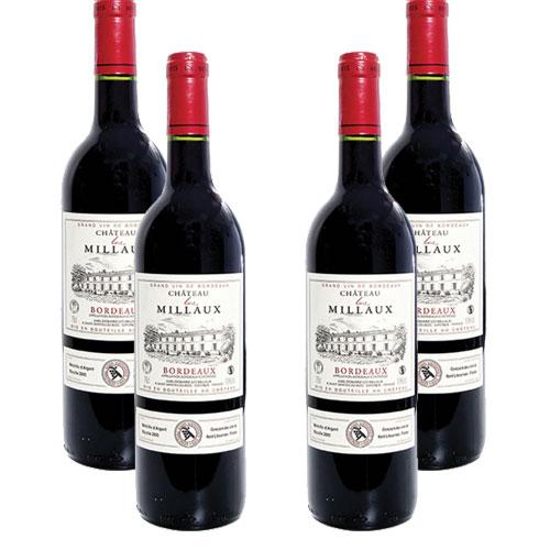 4 Vinhos Chateau Les Millaux Bordeux 750ml