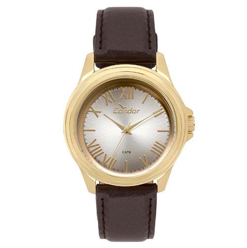 Relógio Masculino Analógico com Pulseira de Couro e Caixa em Metal Dourada  - Condor