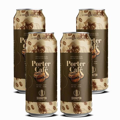 Pack 4 Cervejas Schornstein Porter e Café Lata 473ml