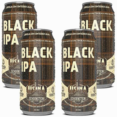 Pack 4 Cervejas Schornstein Black IPA Lata 473ml