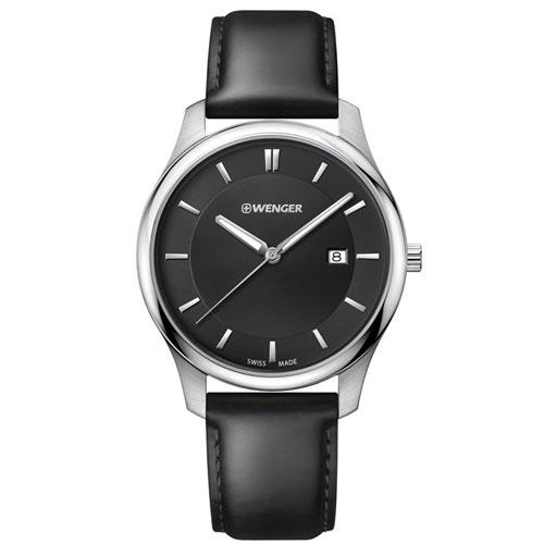 Relógio Masculino City Collection com Pulseira em Couro Preto - Wenger