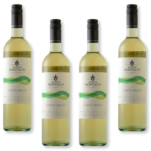 4 Vinhos Barone Montalto Acquerello Pinot Grigio Terre Siciliane IGT 750ml
