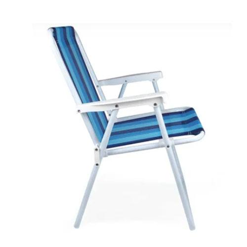 Cadeira de Praia Alta em Aço Listada Azul - Mor