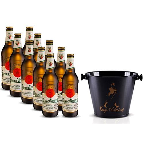Pack 10 Cervejas Pilsner Urquell 500ml + Balde para Cerveja em Alumínio 5L Keep Walking