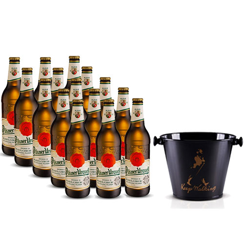 Pack 15 Cervejas Pilsner Urquell 500ml + Balde para Cerveja em Alumínio 5L Keep Walking