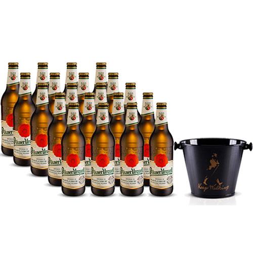 Pack 20 Cervejas Pilsner Urquell 500ml + Balde para Cerveja em Alumínio 5L Keep Walking