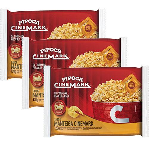 Combo 3 Pipocas para Micro-ondas Sabor Manteiga 120g - Cinemark